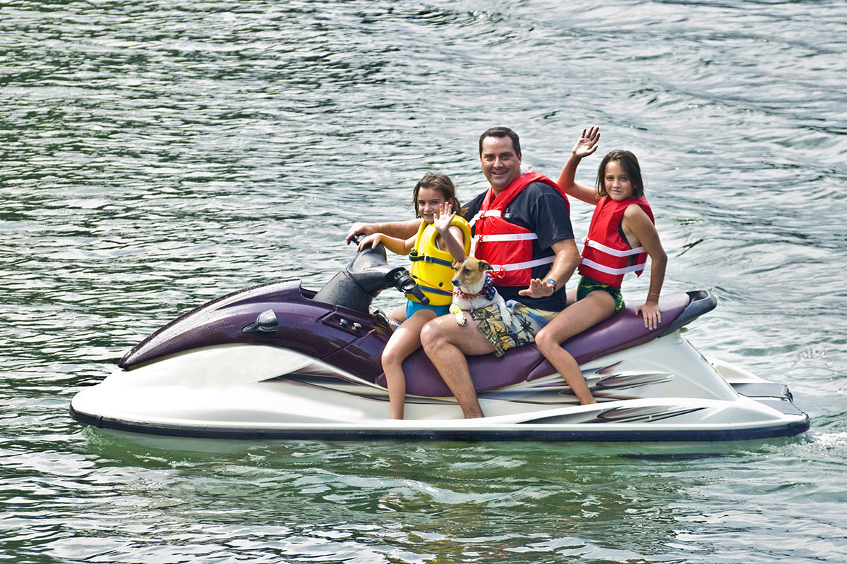 You can take two passengers with a bigger jet ski - and a dog if it's really needed