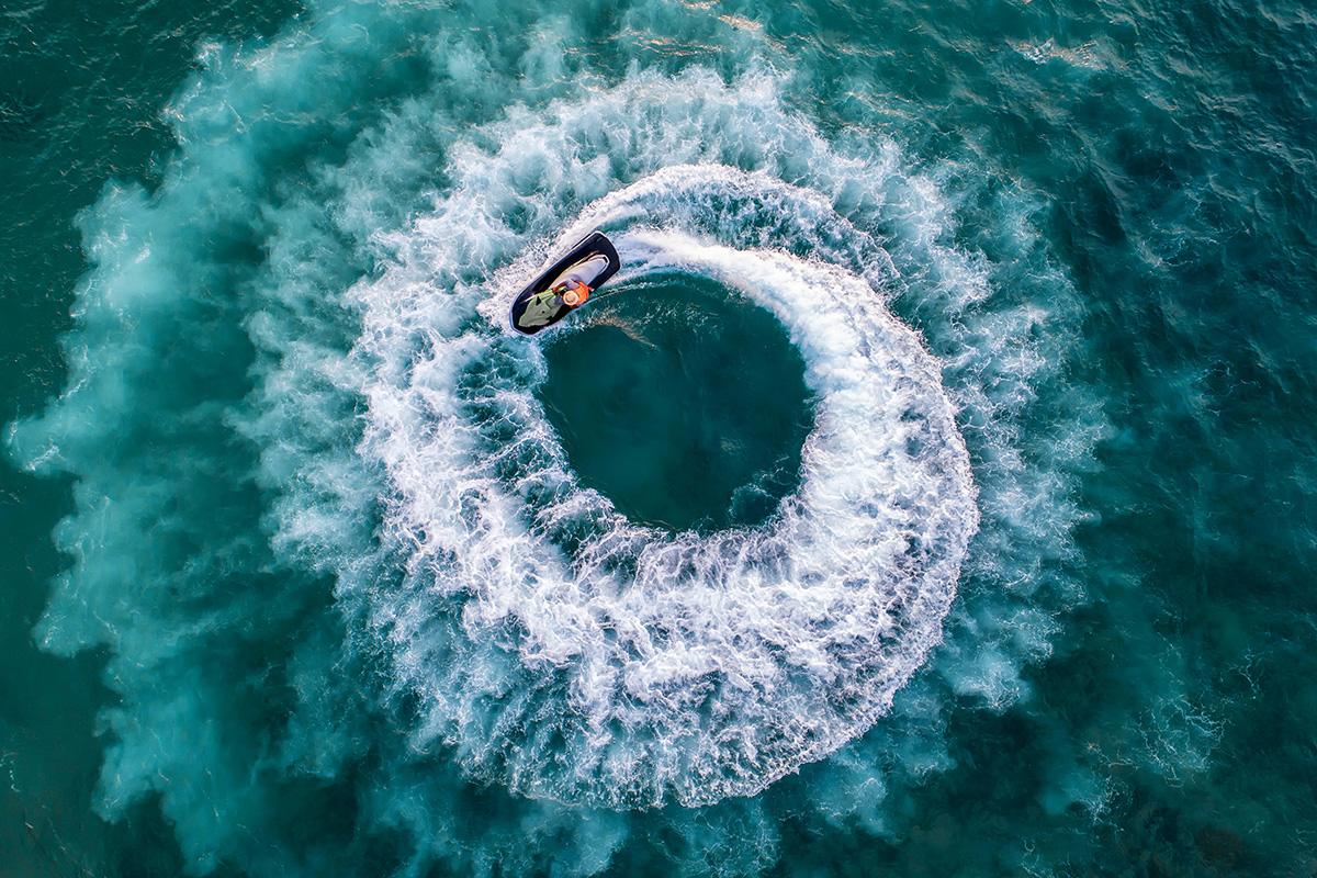 Jet skis are really nimble, but they don't have enough weight for professional wakeboarding
