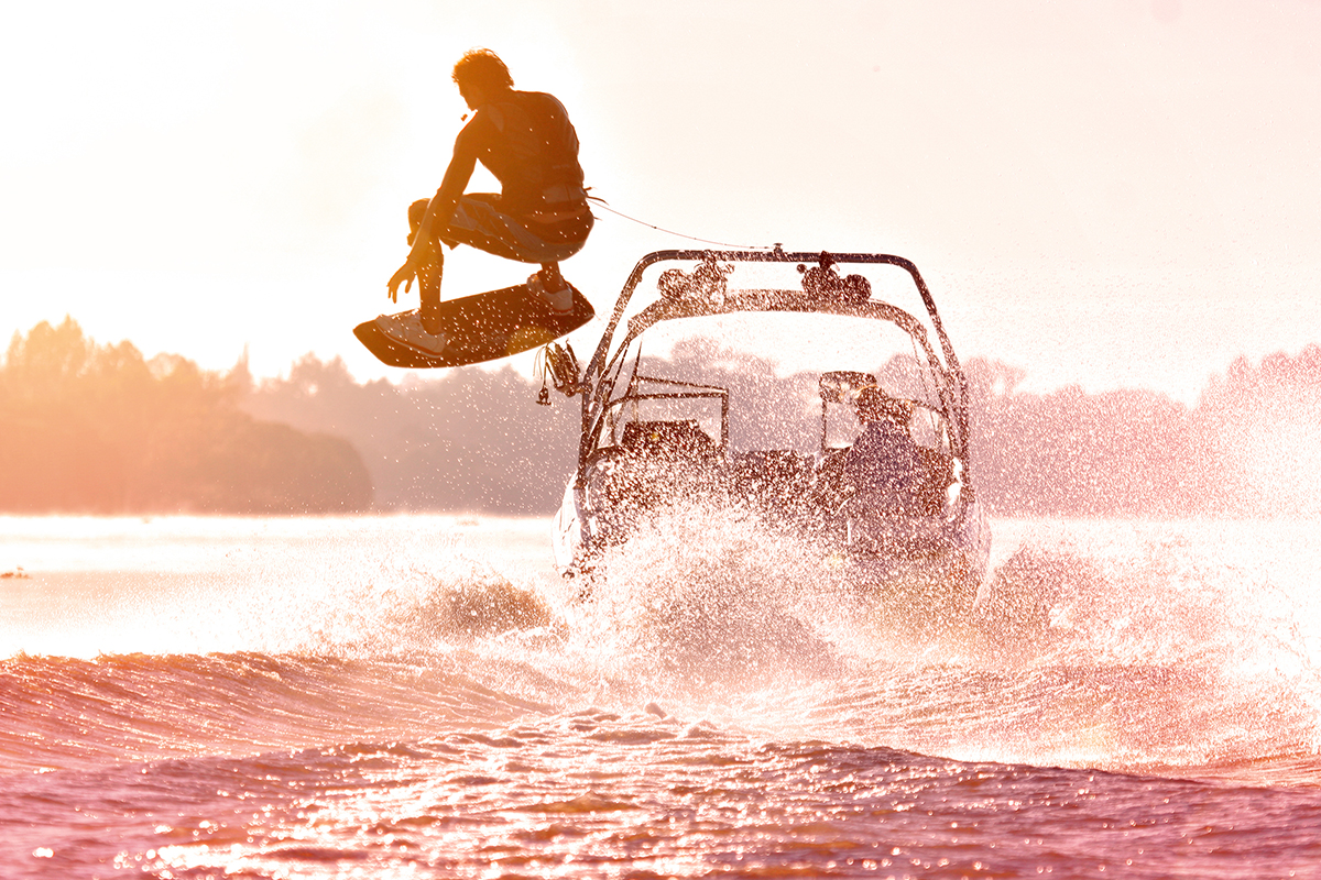 Wakeboard tower on a boat - it helps to jump into the