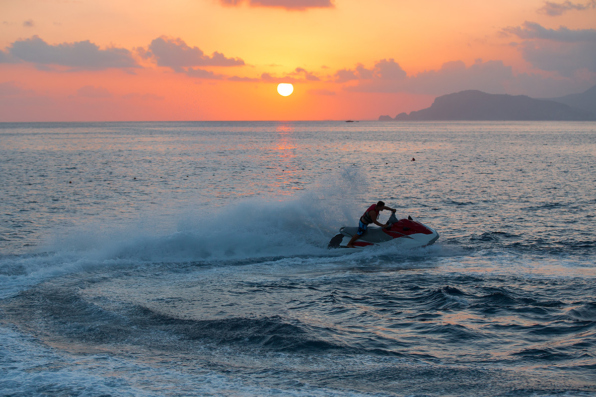 Never ride after sunset to avoid jet ski accidents